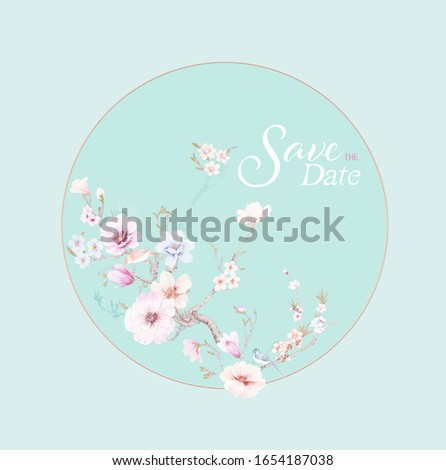 Oriental style painting, plum blossom in spring. can be used for  floral poster, invite. Decorative greeting card or invitation design background