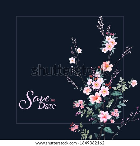 Oriental style painting, plum blossom in spring with hills background, can be used for  floral poster, invite. Vector decorative greeting card or invitation design background