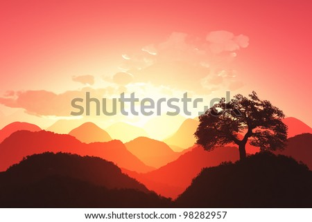 Oriental Sunset 3D render stock photo