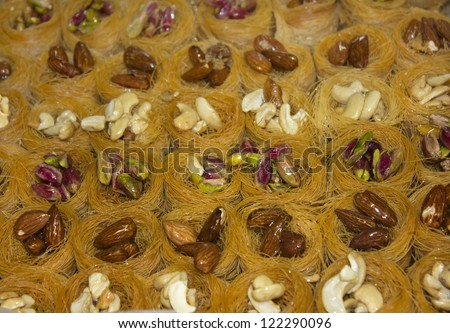 Oriental sweets - baklava ,sweet dessert made of thin pastry, nuts and honey