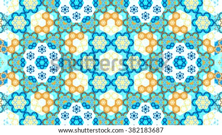 Stock Photo Oriental symmetrical kaleidoscope fractal, computer generated abstract background