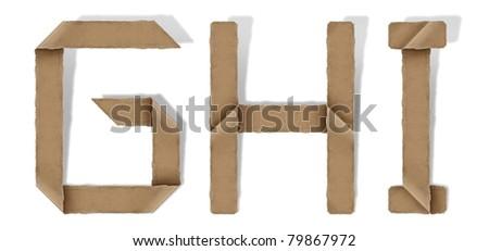 origami alphabet letter G H I
