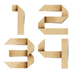 Origami alphabet letters number recycled paper craft stick on white background ( 1 2 3 4  )