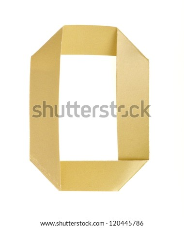 Origami alphabet letters number zero in golden yellow color