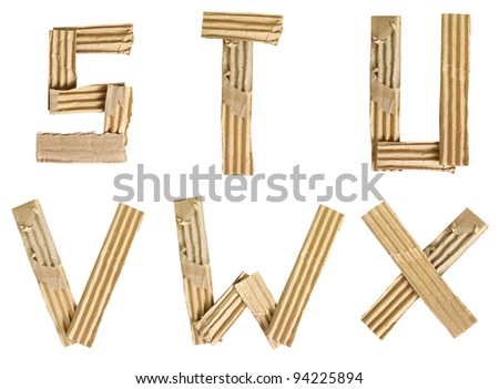 Origami alphabet letters recycled paper craft cut on white background (Save path)
