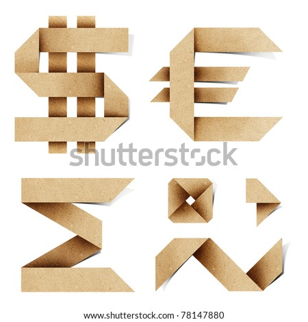 Origami alphabet letters recycled paper craft stick on white background
