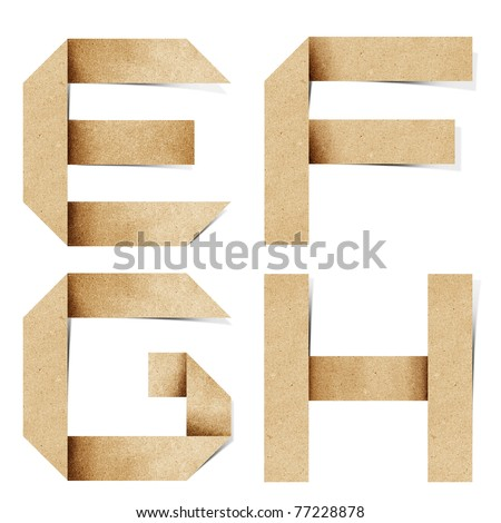 Origami alphabet letters recycled paper craft stick on white background  (e f g h )