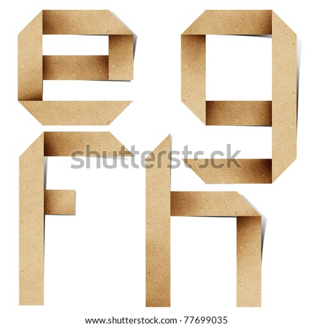 Origami alphabet letters recycled paper craft stick on white background ( e f g h )