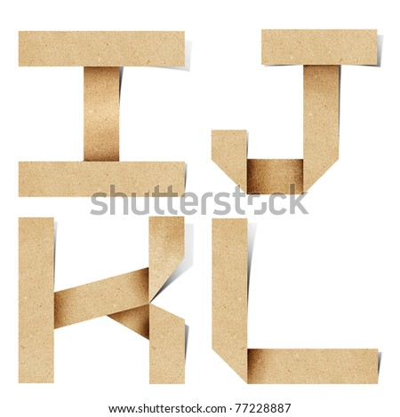 Origami alphabet letters recycled paper craft stick on white background  ( i j k l  )