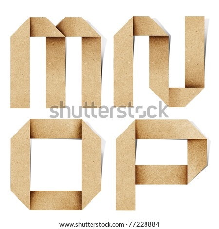 Origami alphabet letters recycled paper craft stick on white background ( m n o p  )