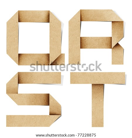 Origami alphabet letters recycled paper craft stick on white background (  q r s t  )