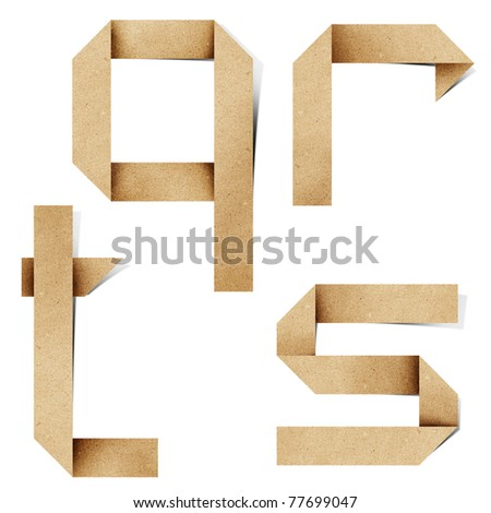 Origami alphabet letters recycled paper craft stick on white background (q r s t )