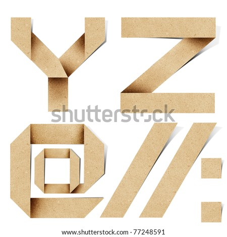 Origami alphabet letters recycled paper craft stick on white background (  y z ) - stock photo
