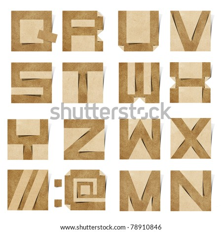 Origami alphabet ( Note Pad style ) letters recycled paper craft stick on white background