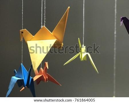 origami and colourful birds... Stok fotoğraf ©