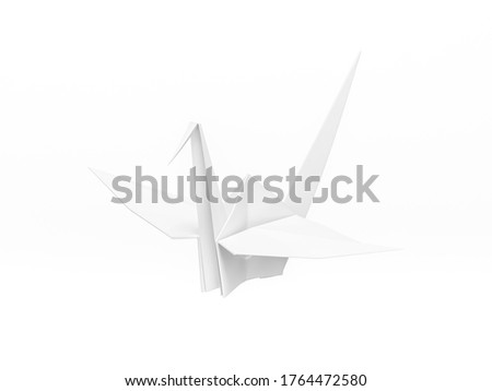 Origami Bird, bird paper crane on white background 3d rendering. 3d illustration bird paper craft for Hiroshima remembrance day minimal style concept.