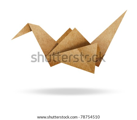 Origami Bird from Brown paper cardboard on white background
