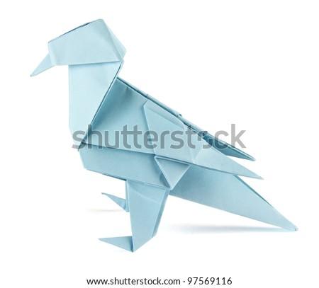 origami bird on the white background