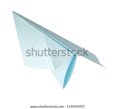 origami blue paper airplane on the white background