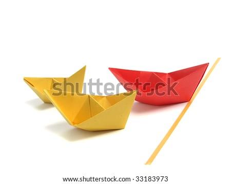 Origami boat over white