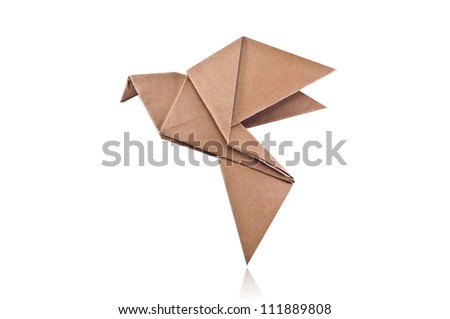 Origami brown paper bird on white background.