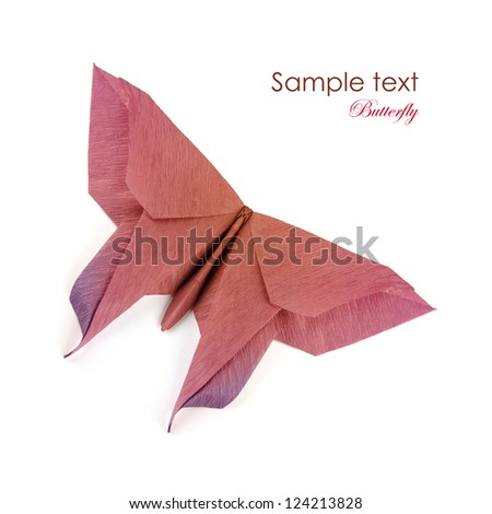 Origami brown purple butterfly on a white background