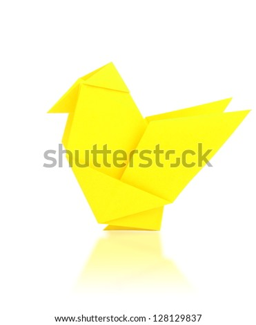 origami chicken from paper on white background