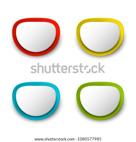 Origami colorful banner. Label to place text. Paper icon. Banners set. Text Index picture. Abstract shape background. Egg Form for presentation. Web tag format. Art pattern. Rounded offer #1080577985