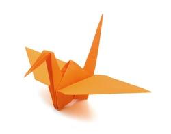 origami crane on white background