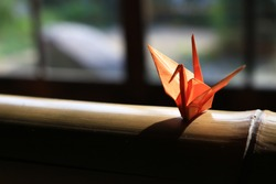 Origami crane which is placed on the window side of Japanese style houses