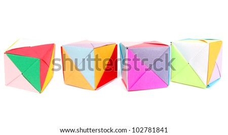 Origami cubes in row