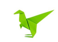 Origami dinosaur - Raptor - isolated on white background