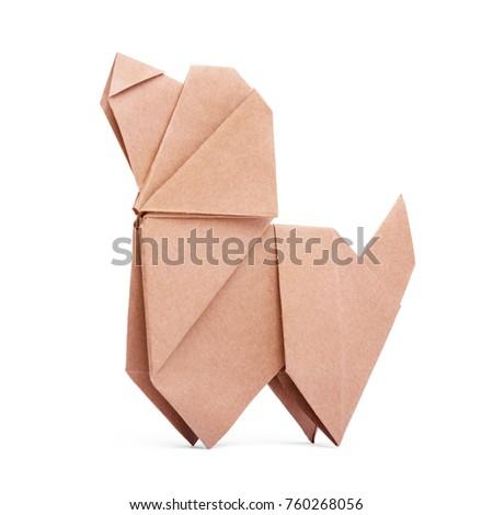 Origami dog on white background #760268056