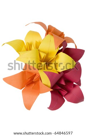 Origami flowers isolated on white background - stock photo