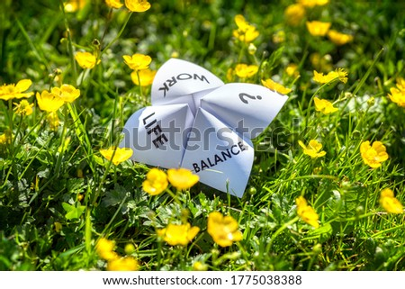 Origami fortune teller on vacation in a meadow concept for work life balance choices Stock photo ©