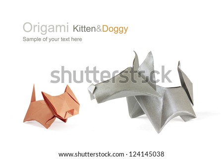 Origami friends dog and cat on a white background