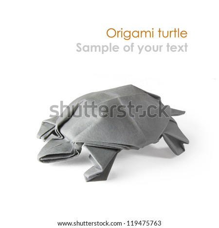 Origami gray turtle on a white background