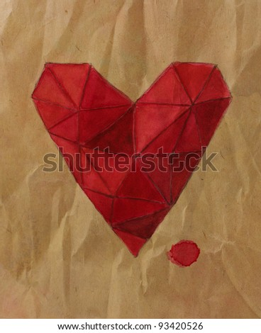 Origami hand-painted watercolor heart - stock photo