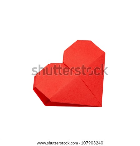 Origami heart. Symbol of Valentine's Day, love and happiness. Can be used as a greeting card. Ready for your logo. Isolated on white background with clipping path