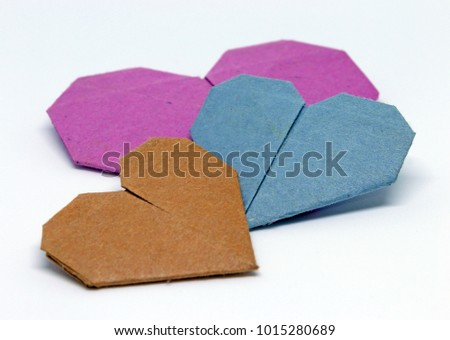 Origami hearts isolated #1015280689