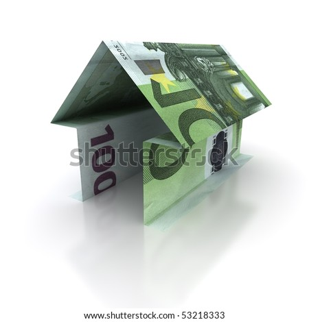 Origami house of 100 euro isolated on white background