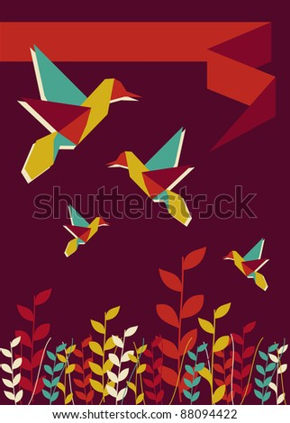 Origami hummingbird spring time burgundy design.