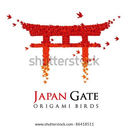 origami Japan gate Torii shaped from flying birds - JPG version