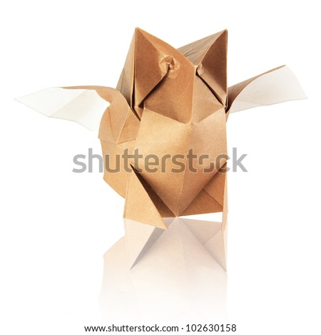 origami japonese owl on the white background