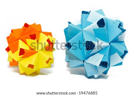 Origami kusudama paper-made balls isolated on white background