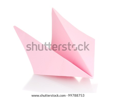 Origami paper airplane isolated on white