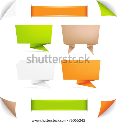 Origami Paper Banner, Isolated On White Background
