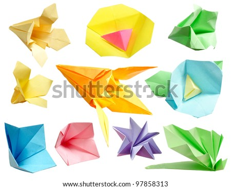 Origami paper flower collection isolated on white background