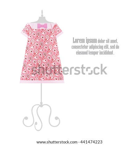 Origami paper pink summer fashion dresses on a dummy retro on a white background