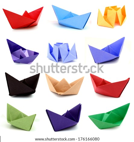Origami paper ships